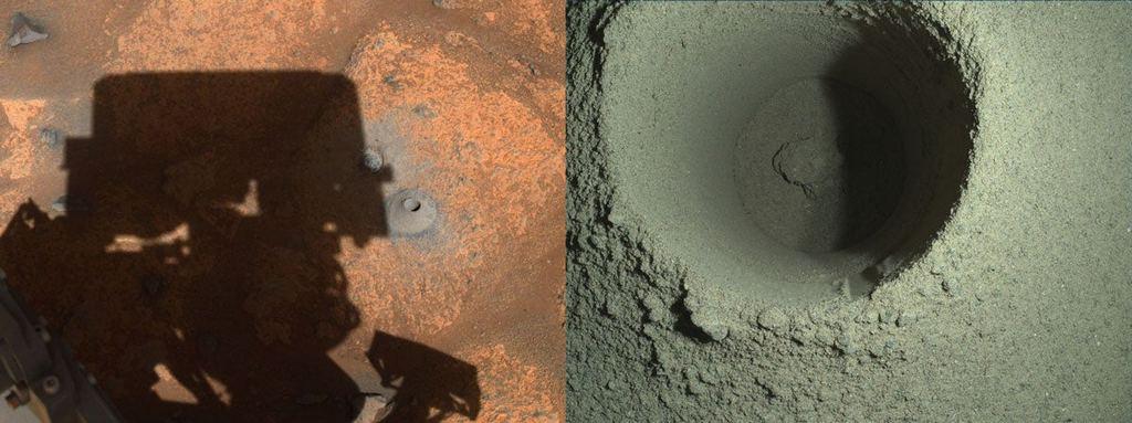 Twee afbeeldingen van het boorgat genomen door camera's aan boord van Perseverance.