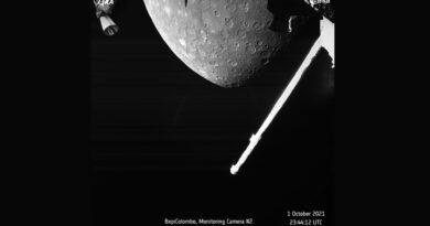 De eerste opname van de scheervlucht van BepiColombo langs Mercurius
