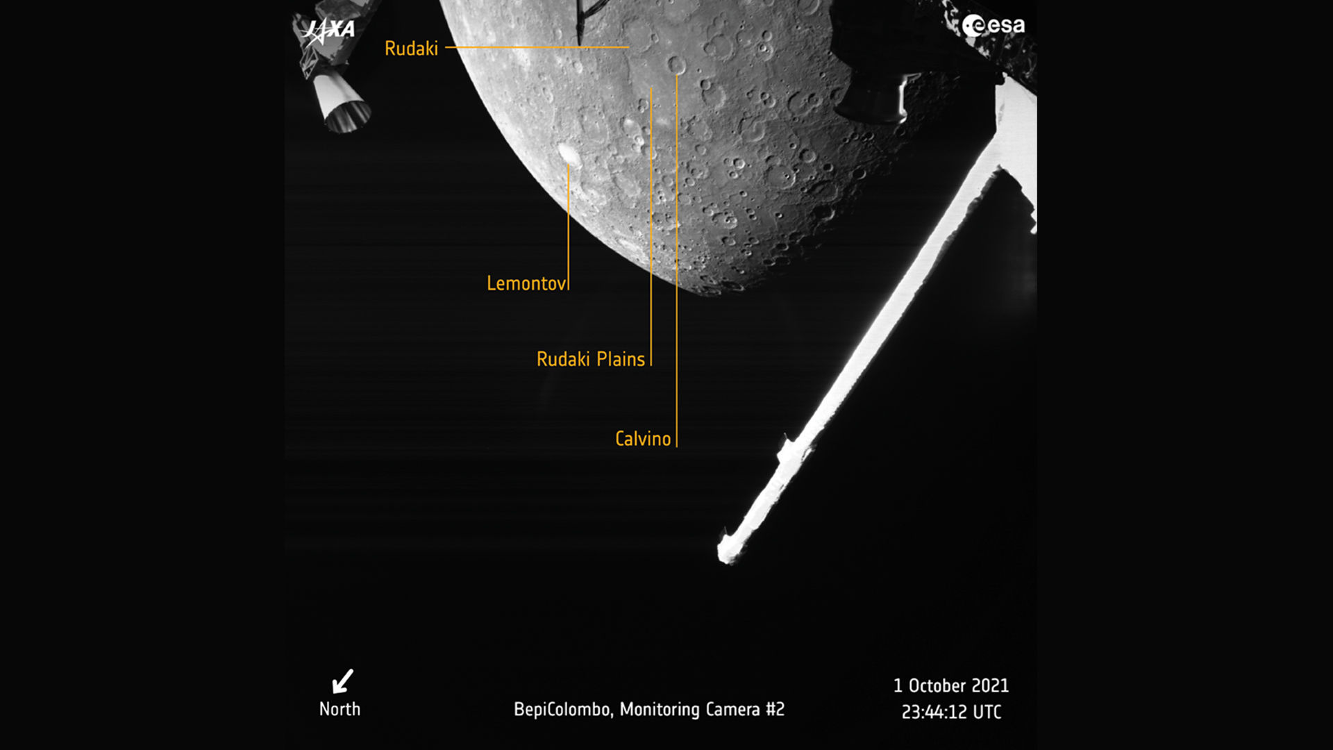 Opname van Mercurius door de BepiColombo ruimtesonde