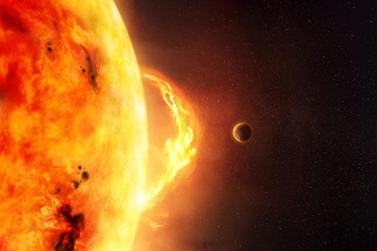 Artist impressie van een planeet bij een ster.